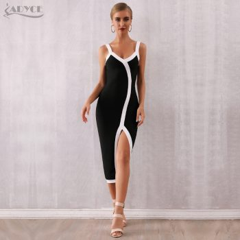 Adyce 2019 New Summer Woman Bandage Dress Sexy Spaghetti Strap V Neck Club Dress Celebrity Bodycon Evening Party Dress Vestidos