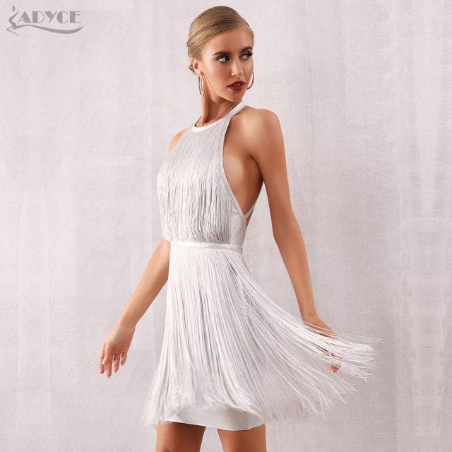 Adyce Women Tassel Bandage Dress Vestidos 2019 New Summer Sexy Celebrity Evening Party Dress White Mini Halter Fringe Club Dress