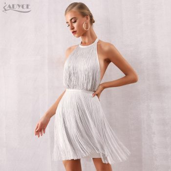 Adyce Women Tassel Bandage Dress Vestidos 2019 New Summer Sexy Celebrity Evening Party Dress White Mini Halter Fringe Club Dress