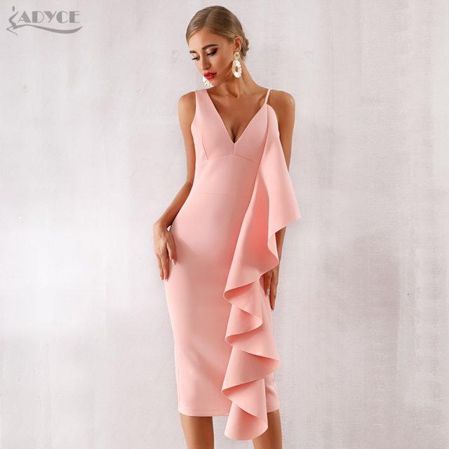 Adyce New Summer Women Pink Celebrity Evening Runway Party Dress Vestidos 2019 Sexy Sleeveless Ruffles White Bodycon Club Dress