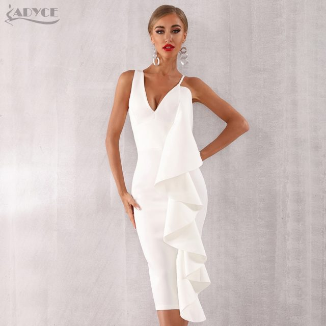 Adyce New Summer Women Pink Celebrity Evening Runway Party Dress Vestidos 2019 Sexy Sleeveless Ruffles White Bodycon Club Dress