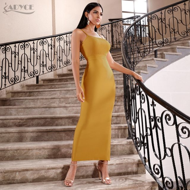 Adyce 2019 New Summer Women Bandage Dress Sexy Sleeveless Spaghetti Strap Midi Club Vestido Celebrity Evening Runway Party Dress