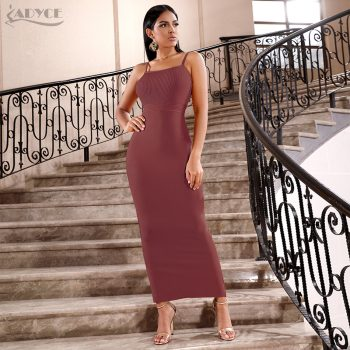 Adyce 2019 New Summer Women Bandage Dress Sexy Sleeveless Spaghetti Strap Midi Club Vestido Celebrity Evening Runway Party Dress