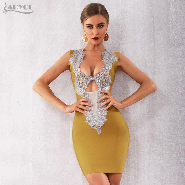 ADYCE 2019 New Summer Women Bandage Dress Vestidos Sexy Deep V-Neck Sleeveless Sequin Bodycon Club Celebrity Runway Party Dress
