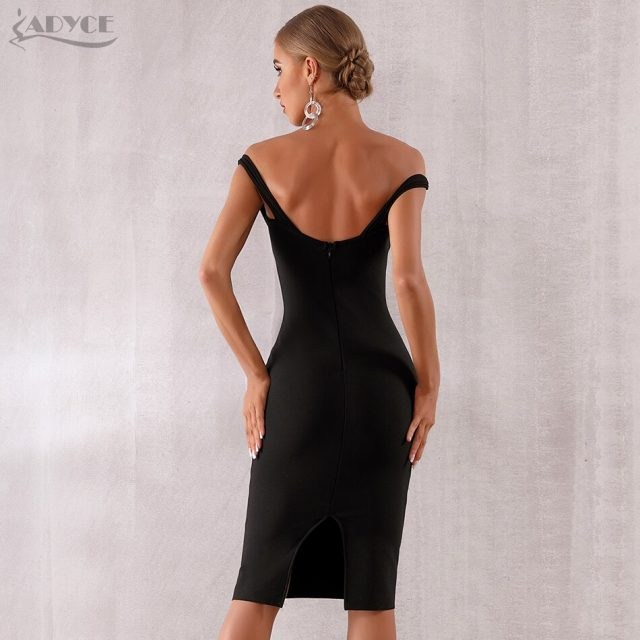 Adyce 2019 New Summer Women Celebrity Evening Party Dress Vestidos Elegant Black Lace Slash Neck Off Shoulder Bodycon Club Dress