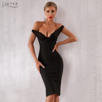 Adyce 2019 New Summer Women Celebrity Evening Party Dress Vestidos Elegant Black Lace Slash Neck Off Shoulder Bodycon Club Dress