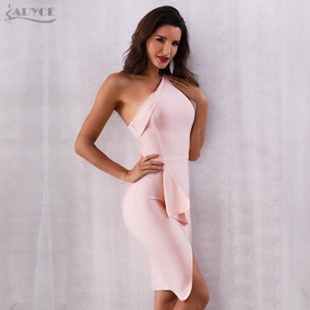 ADYCE 2019 New Summer Women Bodycon Bandage Dress Celebrity Evening Party Dress Sexy Sleeveless One Shoulder Club Dress Vestidos