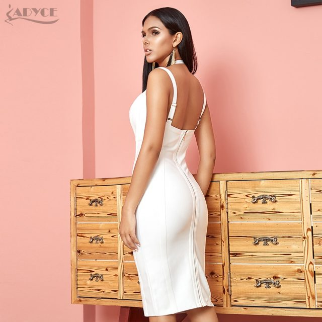 ADYCE New Summer Bodycon Bandage Dress Women Sexy Halter V Neck Spaghetti Strap Club Dress Vestido Celebrity Evening Party Dress