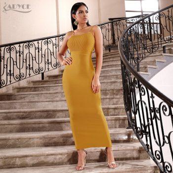Adyce Bodycon Summer Bandage Dress Women 2019 Sexy Spaghetti Strap Sleeveless Maxi Club Celebrity Evening Party Dresses Vestidos