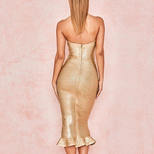 Adyce 2019 New Summer Women Gold Bandage Dress Vestido Sexy Sleeveless Strapless Club Dress Elegant Celebrity Runway Party Dress