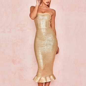 Adyce 2019 New Summer Women Gold Bandage Dress Vestido Sexy Sleeveless Strapless Club Dress Elegant Celebrity Runway Party Dress