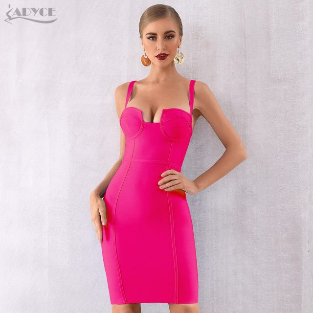 Adyce 2019 New Summer Women Bodycon Bandage Dress Sexy Blue Spaghetti Strap Vestidos V-Neck Mini Celebrity Evening Party Dresses