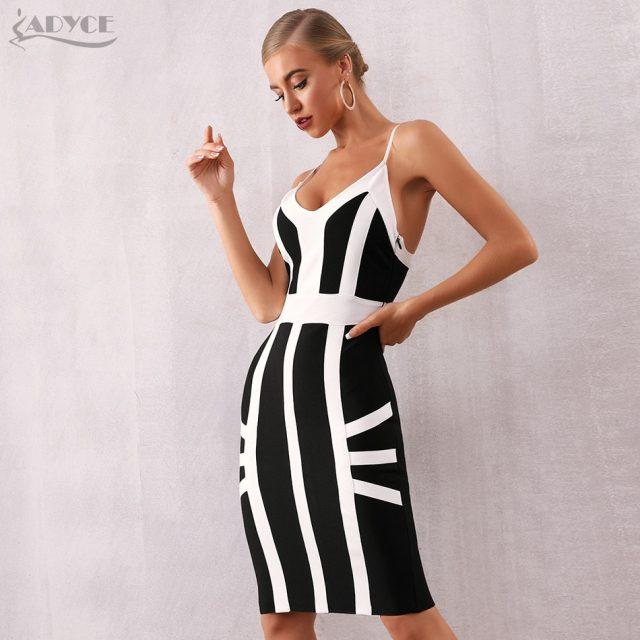 Adyce 2019 New Summer Women Bodycon Bandage Dress Vestido Elegant Black Spaghetti Strap Striped Club Dress Celebrity Party Dress
