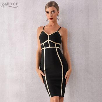 Adyce 2019 New Summer Bodycon Bandage Dress Women Elegant Sexy Spaghetti Strap Black Striped Club Dress Celebrity Party Dress