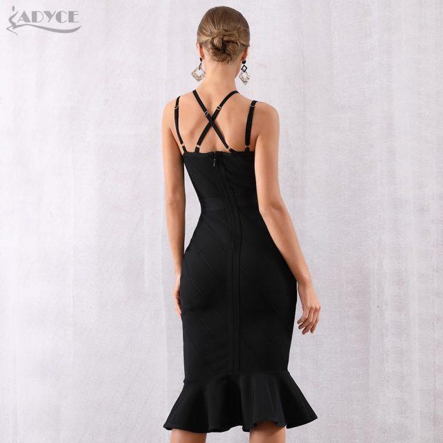 Adyce 2019 New Summer Women Black Bandage Dress Sexy Halter Sleeveless Mermaid Club Dress Vestidos Celebrity Evening Party Dress