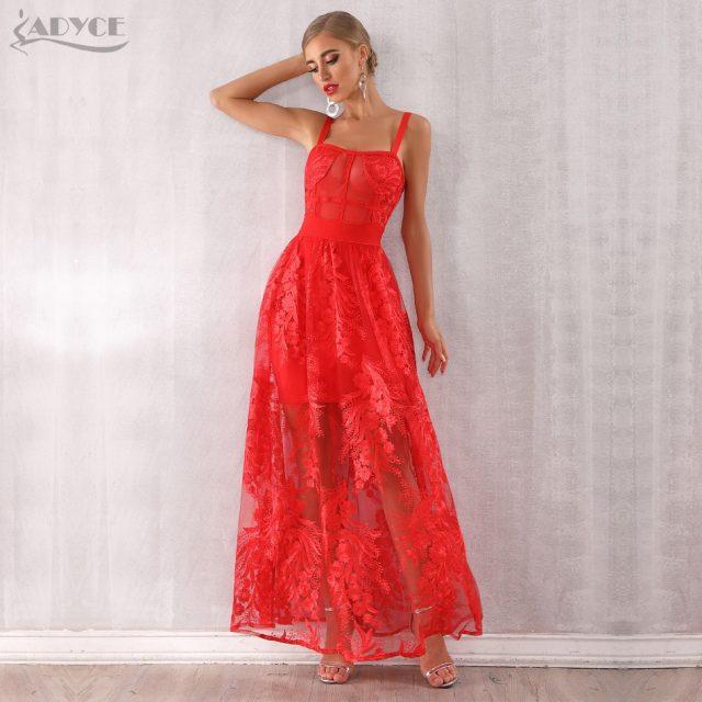 Adyce 2019 New Arrivals Women Red Sexy Spaghetti Strap Bodycon Dress Lace Sleeveless Maxi Dress Celebrity Party Dress Vestidos