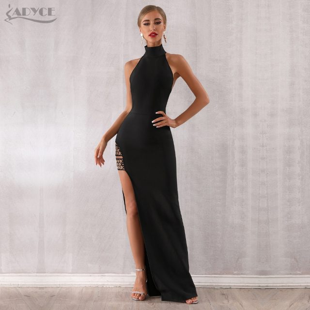 Adyce 2019 New Summer Black Bandage Dress Sexy Sleeveless Halter Hollow Out Maxi Club Dress Celebrity Runway Party Dress Vestido