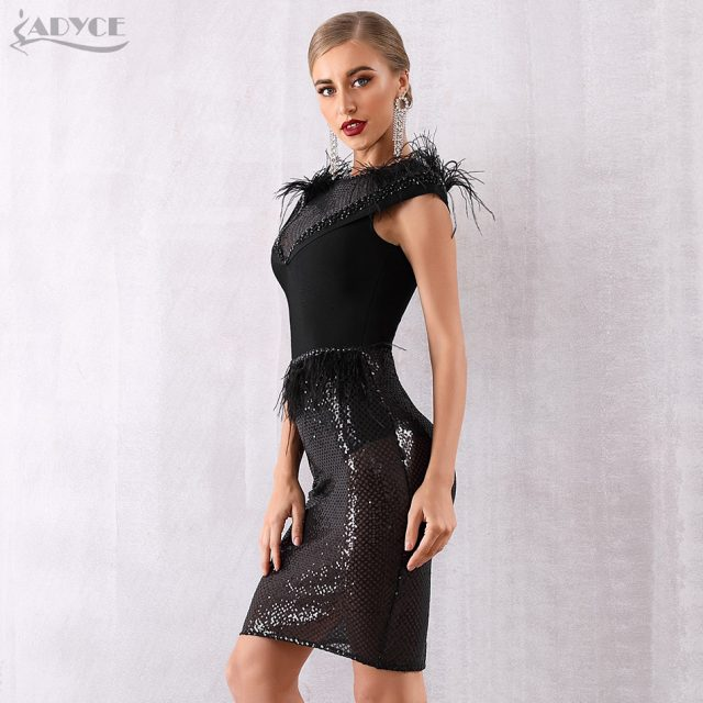 Adyce 2019 New Summer Bandage Dress Women Elegant Black Sequined Lace Sexy Feather Bodycon Club Bead Dress Celebrity Party Dress