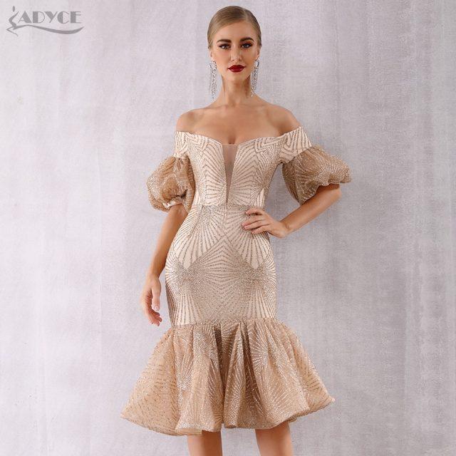 Adyce New Summer Bandage Dress Women Vestido 2019 Sexy Slash Neck Short Sleeve Off Shoulder Midi Celebrity Evening Party Dresses