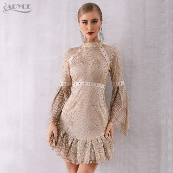 Adyce 2019 New Autumn Women Flare Sleeve Elegant Celebrity Evening Party Dress Vestido Sexy Long Sleeve Sequined Mini Club Dress