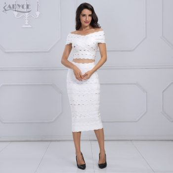 Adyce 2019 New Arrival Winter Bandage Dress Set Chic Women Elegant White Off the Shoulder 2 Two Pieces Set Party Dress