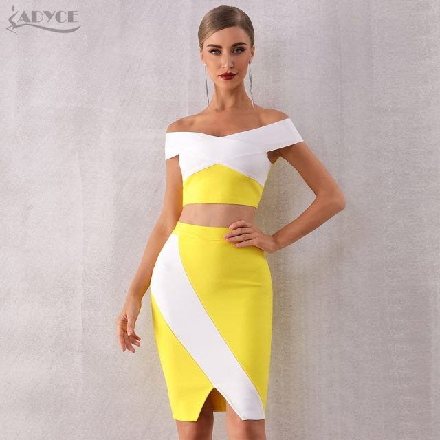 ADYCE 2019 Summer Women Bodycon Bandage Sets Summer Dress Vestidos 2 Two pieces Set Top Slash Neck Celebrity Evening Party Dress