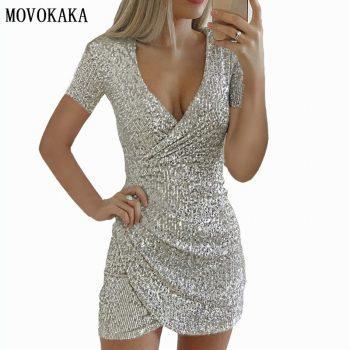 Fashion Sexy Dress Sequin Dresses Women Plus Size Vestidos Casual Dresses Bodycon Dresses Short Party Dress Elegant Dress Women