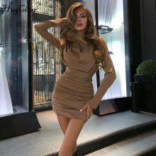 Hugcitar 2019 long sleeve ruched pure sexy mini dress autumn winter women streetwear party outfits clubwear
