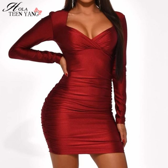 HolaTeenYang Sexy Dress Ruch V-neck Backless Long Sleeves Mini Dress Solis Winered Celebrity Party Club Evening Vestidos 2020