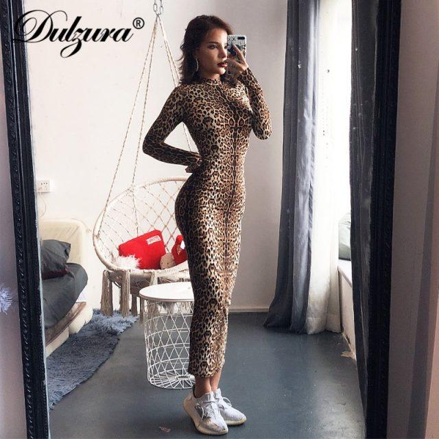 Dulzura 2019 autumn winter women midi dress party bodycon festival tiger leopard animal print sexy plus size office clothes
