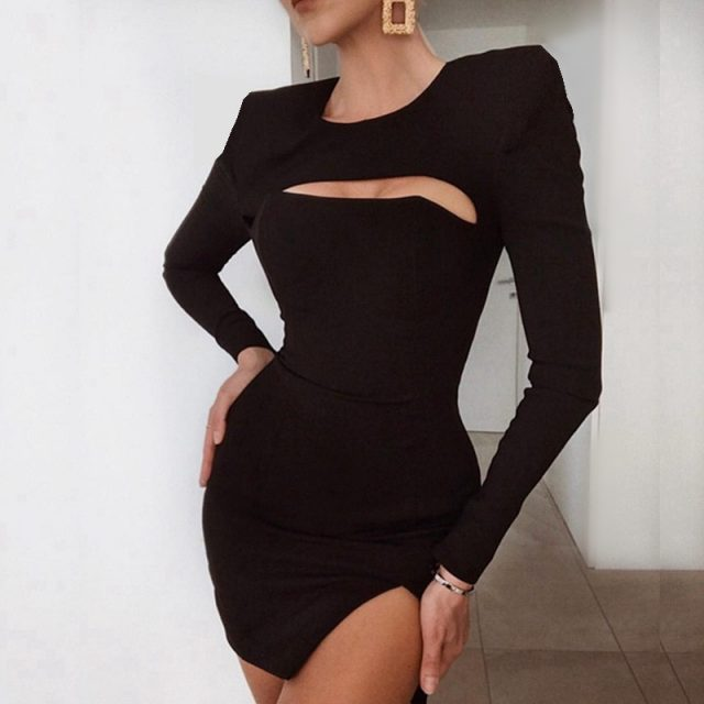 Cryptographic Long Sleeve Solid Black Sexy Clubwear Party Split Dresses for Women Bodycon Round Neck Cut-Out Mini Dress Vestidos