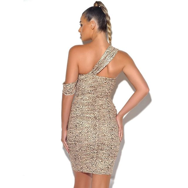 Cryptographic Leopard Dresses for Women Halter One Shoulder Mini Dress Fashion Fall 2019 Bodycon Party Dress Backless Sexy Club