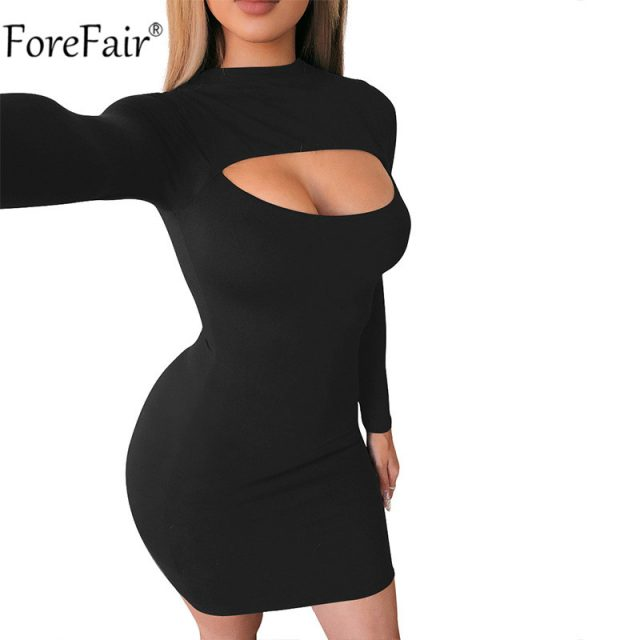 Forefair Turtleneck Women Bodycon Dress Basic Black Sexy Hollow Out Long Sleeve Party White Nightclub Autumn Spring Red Dresses