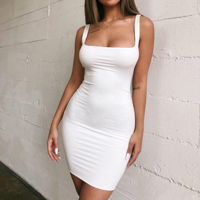 CDJLFH Summer Sheath Casual Dress 2019 Women Vintage Elegant Party Dress Vestidos Black White Bodycon Dresses Backless Dress