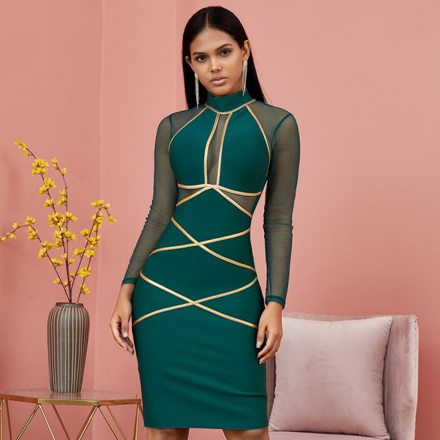 Winter Autumn Green Long Sleeve Bodycon Bandage Dress Women Sexy Hollow Out Mesh Dresses Celebrity Evening Runway Party Vestidos