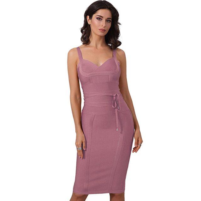 Celebrity Evening Party Elegant Bodycon Bandage Dress Women Summer New Spaghetti Strap Sleeveless Sexy Night Club Lady Vestidos