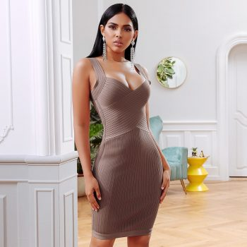 Spaghetti Strap Celebrity Evening Party khaki Bandage Bodycon Dresses Summer Stretch Women V-Neck Sexy Night Club Girls Vestidos