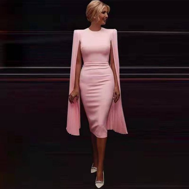 2019 Winter Women Pink Long Batwing Sleeve Midi Bodycon Bandage Dress Vestido Celebrity Party Elegant Ladies Dresses Clothing