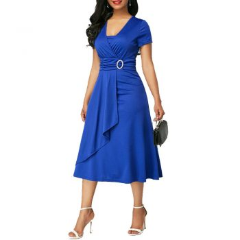 Tunic Women Party Dress High Waist Plain Asymmetric Midi Dress OL Casual Short Sleeve Vestido Blue Black Green Dresses Plus Size
