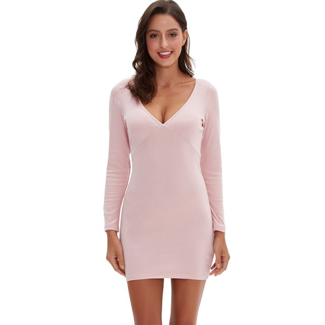 Women Sexy Deep V-Neck Long Sleeve Bodycon Elegant Mini Dress