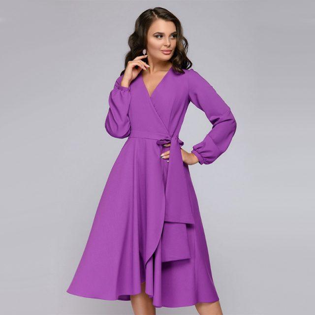 Women Vintage A Line Evening Party Dress Sexy V Neck Long Sleeve   Elegant Dress Women 2019 Autumn Casual Women Dress Vestido