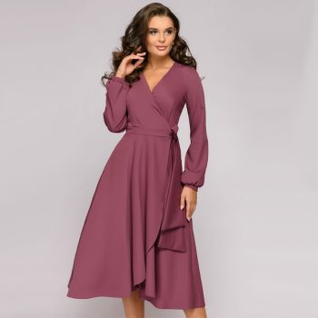 Women Vintage A Line Evening Party Dress Sexy V Neck Long Sleeve   Elegant Dress Women 2019 Autumn Casual Women Dress Vestido