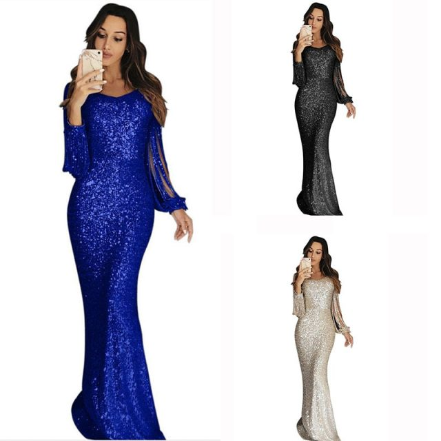 Elegant Tassels Sleeve Gold Sequin Dress Women Evening Party Glitter Metal Sexy Bodycon Long Maxi Dresses 2020