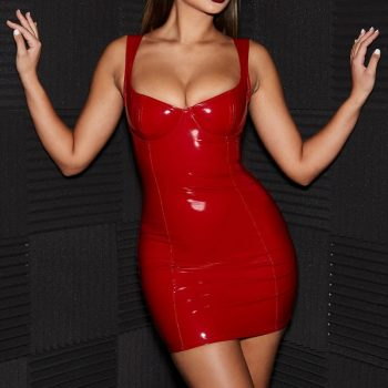 Latex Faux Leather Bra Short Micro Mini Dress Woman Wet Look Rubber Sexy Sleevless Backless Club Party Ladies Bodycon Dresses