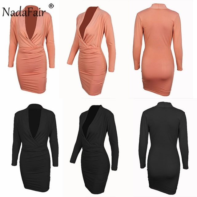 Nadafair Autumn Winter Long Sleeve Midi Bodycon Dress Draped Deep V Neck Club Black Red Sexy Party Dress Women