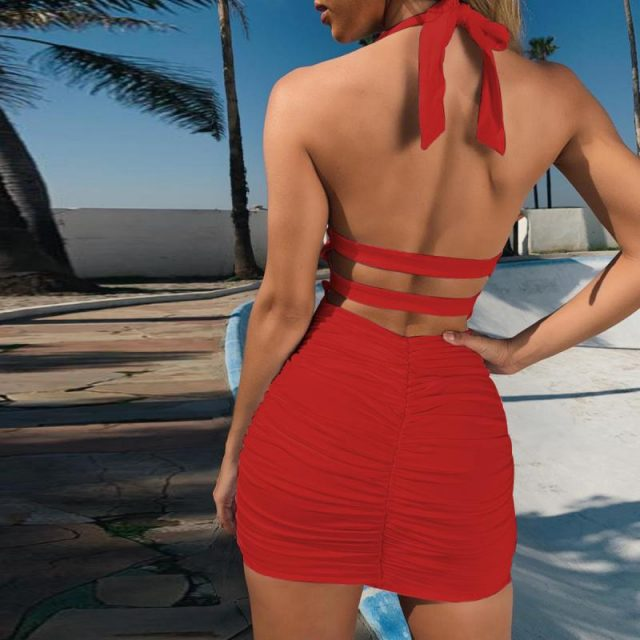 SVOKOR Backless Halter Sexy Dress Slim Fit Pack Hip Mini Dress Summer Temperament Party Dress