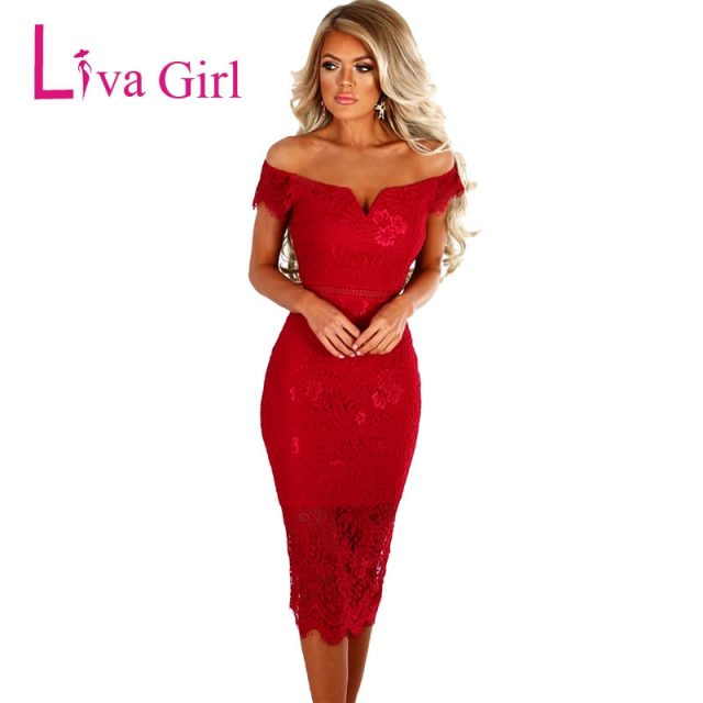 LIVA GIRL Lace Party Dresses Women Off Shoulder Bodycon Midi Dress Sexy Red 2019 Summer Dress Pencil Office Vestidos De Fsiesta