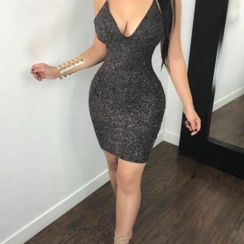 Hirigin Women V Neck Bandage Bodycon Evening  Summer Sexy Sleeveless Evening Party Club Sparkling Bodycon Short Dress
