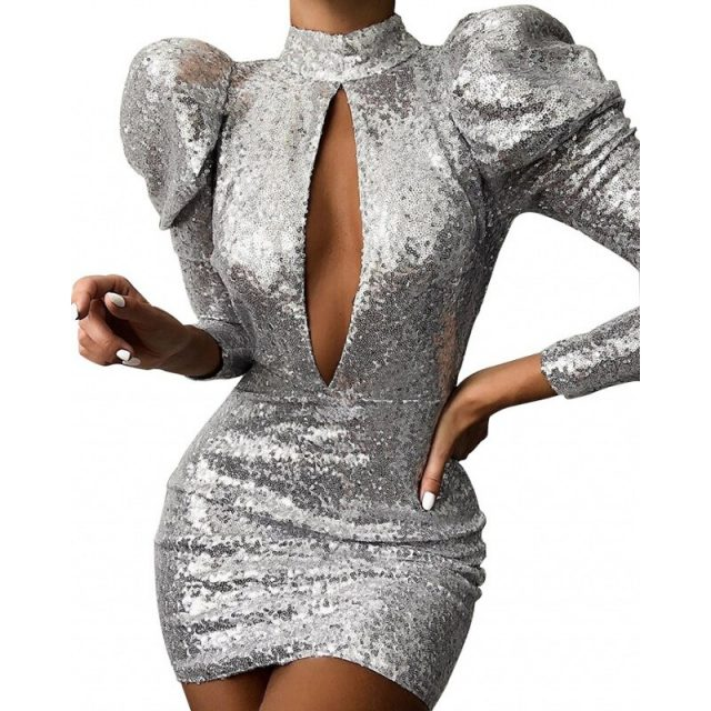 2020 Spring Sexy Hollow Out Glitter Sequin Women Dress Puff Long Sleeve Sparkling Club Party Dress Backless Slim Bodycon Dresses