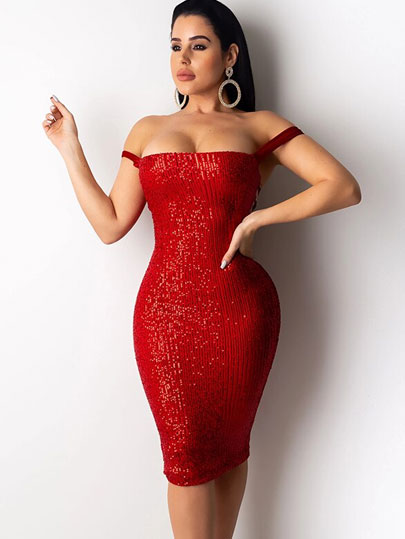 Ceremokiss Summer Sequin Dress Sexy Women Sparkle Glitter Bandage Bodycon Dresses Slash Neck Backless Night Club Party Vestidos